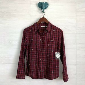 NWT $98 Halogen XSP Studded Plaid Blouse Top
